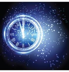 Old clock holiday lights at new year midnight vector