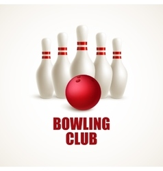 Red bowling ball and white skittles vector