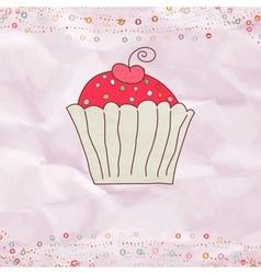 Retro valentines cupcake card vector