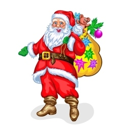Santa claus with bag of gifts vector