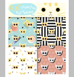 Set of animal seamless patterns with cat 2 vector