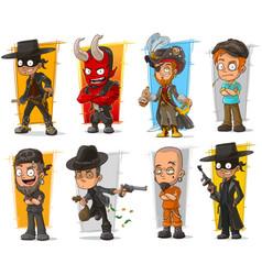 Set of cartoon bad guys characters vector