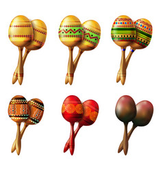 Set of mexican maracas musical instrument vector