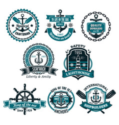 set of nautical and marine icons vector image vector image