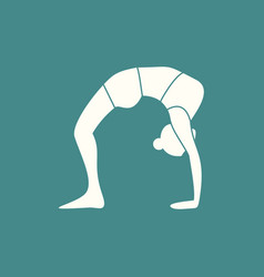 Silhouette of bridge stretches yoga pose vector