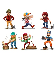 Six men with axes vector image vector image