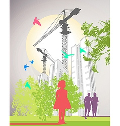 Skyscrapers poster vector