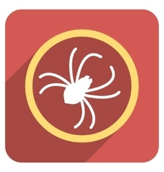 Spider Flat Rounded Square Icon with Long Shadow vector image vector image
