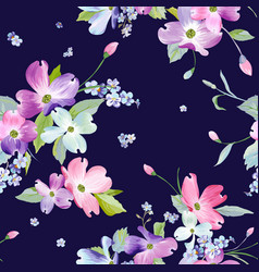 spring flowers seamless pattern watercolor vector image vector image