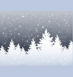 Winter christmas landscape with icy spruce forest vector