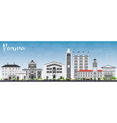 Parma skyline with gray buildings and blue sky vector