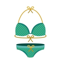 Female swimwear green with yellow dots vector