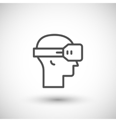 Virtual reality helmet line icon vector