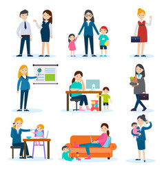 Busy mother and pregnant woman set vector