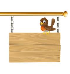 bird hanging wooden sign vector image