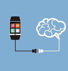 Smart watch connected to the brain vector