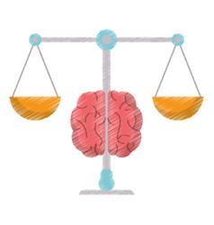 drawing brain balance idea image vector image