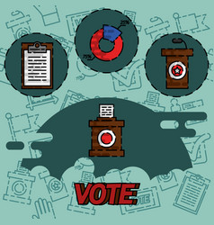 Vote flat concept icons vector