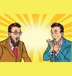 two elegant retro businessman shocked vector image