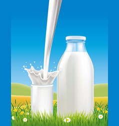 Milk pouring to glass on grass field vector