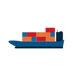 Global shipping icon with container ship vector