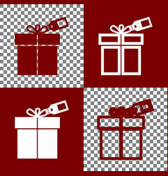 Gift sign with tag  bordo and white icons vector
