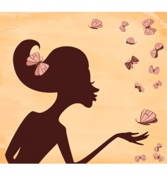 girl with butterfly vector image