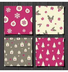 Retro style christmas seamless patterns set vector