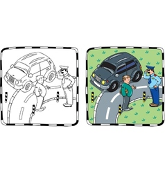 Policeman and car driver coloring book vector