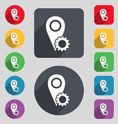Map pointer setting icon sign a set of 12 colored vector