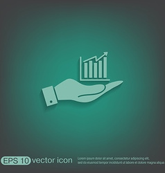 Hand holding a chart diagram figure business icon vector