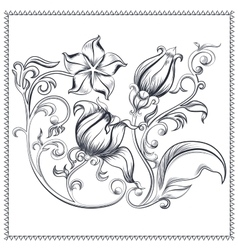 Ornate vintage floral ornament vector