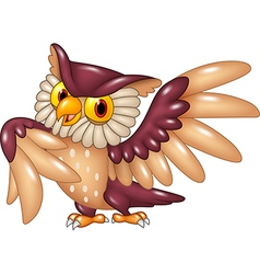 Cartoon funny owl bird posing vector