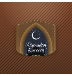 Ramadan kareem festive label with ribbon vector