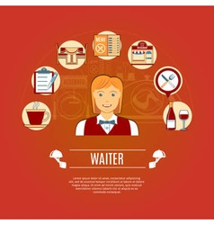 Waiter concept icons vector