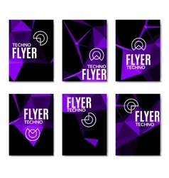 Abstract technology polygonal flyer set modern vector