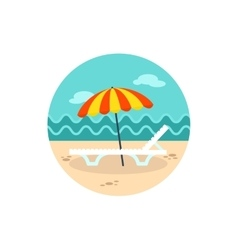 Beach chaise lounge with umbrella icon vacation vector