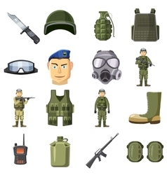 Military weapon icons set cartoon style vector