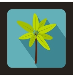 Tropical palm tree icon flat style vector