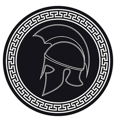 Ancient Greek Helmet with a Crest on the Shield vector image vector image
