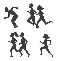 athletic run man people silhouette jogging summer vector image