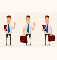 Businessman office worker cartoon character set vector