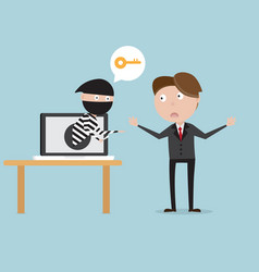 businessman with thief from laptop network vector image vector image