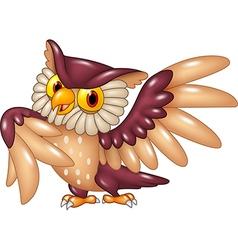 Cartoon funny owl bird posing vector