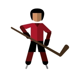Character hockey player skating vector
