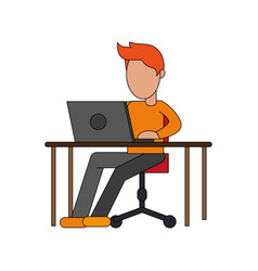 color image cartoon faceless man sitting in desk vector image