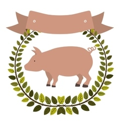 Colorful olive crown and ribbon with pink pig vector