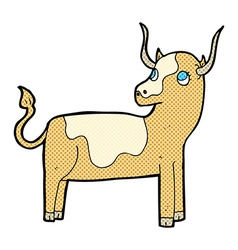 comic cartoon cow vector image