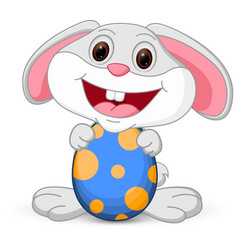 Easter cute bunny holds egg vector