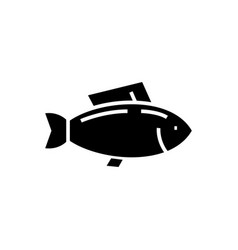 fish - tuna icon black sign vector image